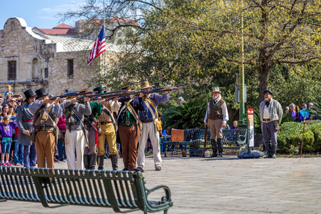 SAN ANTONIO, TEXAS - MARCH 2, 2018 - People participate in the reenactment of the Battle of the Alamo, which took place between February 23 and March 6, 1836