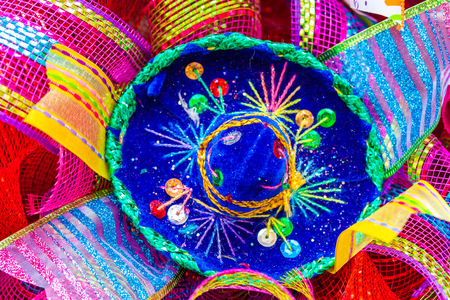 Small blue sombrero decorated with rhinestones and glitter Stock Photo