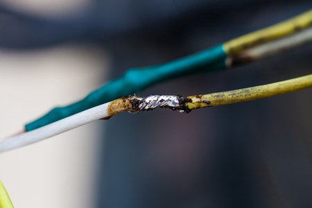 Closeup of exposed live electrical wire with melted insulation/electrical fire danger concept Stockfoto