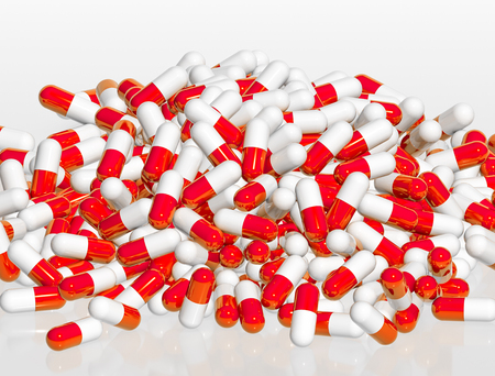 Pile of red and white pill capsules on white background, 3d rendering