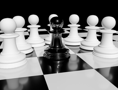 One black chess pawn on chessboard surrounded by white pawns