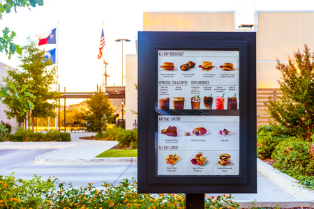 SAN ANTONIO, TEXAS - MAY 29, 2018 - Starbucks drive thru menu at one of the companys locations in San Antonio, Texas. Redakční