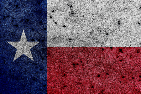 Flag of TexasLone Star Flag  with correct geometric proportions, specifications and colors painted on grunge wall background