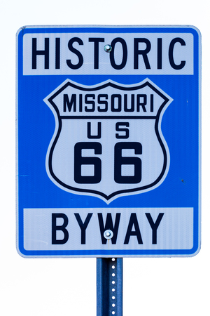 Street sign with route 66 in Missouri Banco de Imagens