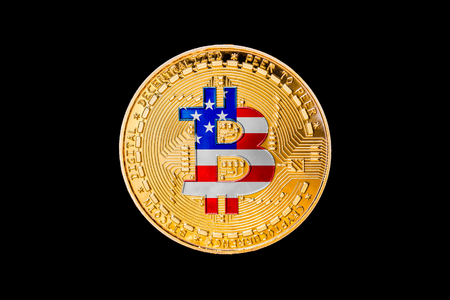Golden bitcoin with the United States of America flag in the centerUSA cryptocurrecy concept Stock Photo