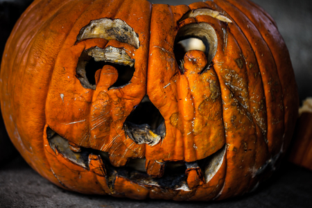Creepy decaying carved pumpkin / haloween concept
