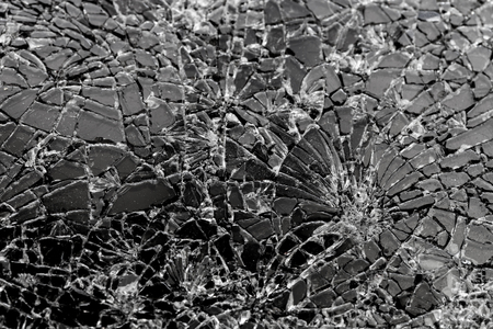 Contrasting broken glass on black background Stock Photo