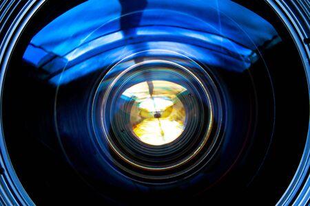 Close up of camera lens with blue circular glass 版權商用圖片