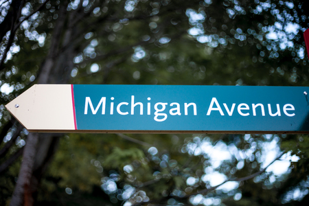 Michigan Ave street sign in downtown Chicago Stock Photo