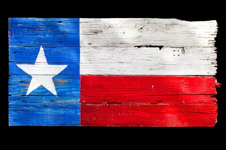 Texas state flag painted on wooden boards isolated on black
