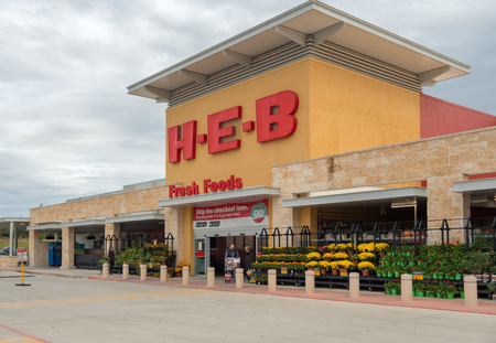SAN ANTONIO, TEXAS - NOVEMBER 9, 2018 - Entrance of the HEB Supermarket store. H-E-B is an American privately held supermarket chain based in San Antonio, Texas, with more than 350 stores throughout the state of Texas, as well as in northeast Mexico