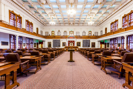 AUSTIN, TEXAS - MARCH 28, 2018 - House of Representatives Chamber in Texas State Capitol in the Capital, floor view