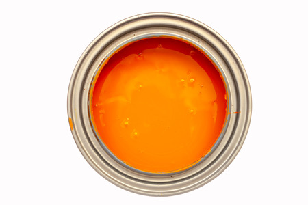 Opened metal can with orange paint top view, isolated on white Standard-Bild - 120936472