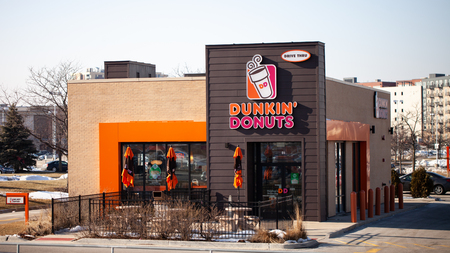 CHICAGO, IL - FEBRUARY 22, 2019 - Exterior view of Dunkin Donuts shop