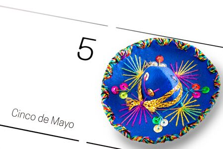 Save the date, cinco de mayo, May 5th, Mexican holiday concept with sombrero on calendar 版權商用圖片