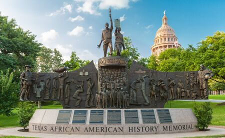AUSTIN, TEXAS - JUNE 16, 2019 - The Texas African American History Memorial is an outdoor monument commemorating the impact of African Americans in Texas, installed on the Texas State Capitol grounds in Austin, Texas, United States Editoriali