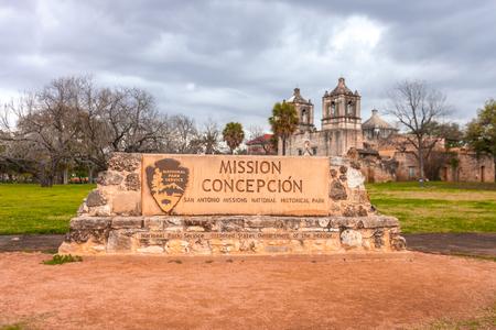 Entrance to Mission Conception in San Antonio, Texas.
