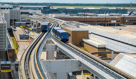 HOUSTON, TX - AUGUST 22, 2019 - IAH George Bush Intercontinental International Airport with the view of SkyWay Tram. It serves to transfer passengers between teminals
