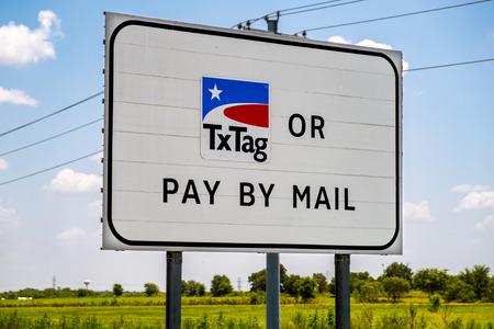 AUSTIN, TX - JULY 31, 2019 - TxTag sign on toll road 130 belt line