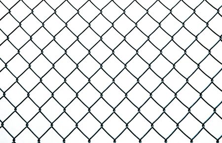 Diamond shaped wire fence pattern isolated on white