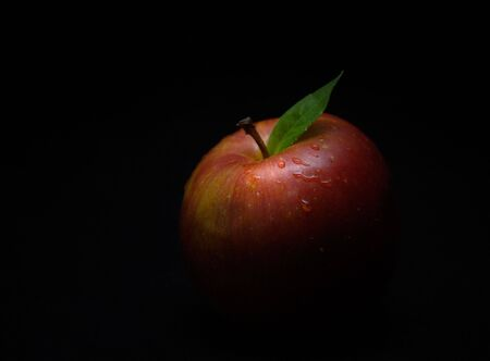 A red apple with green leaf partially obscured by the surrounding shadow.