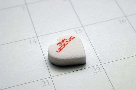 A heart with our wedding covers a date on the calendar.