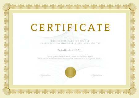 gold swirl: Certificate, Diploma of completion, vector design template
