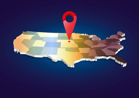 3D USA State map Stock Photo