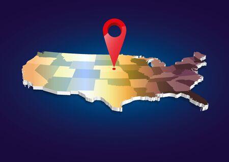 3D USA State map Фото со стока