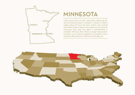 3 D 状態マップ - ミネソタ州