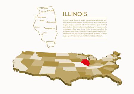 3 D 状態マップ - イリノイ州  イラスト・ベクター素材