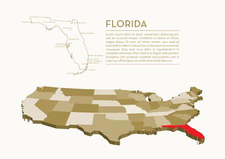 3D 국가지도 - FLORIDA 일러스트