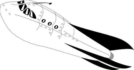 scifi: 1930s style scifi retro rocket flying Illustration