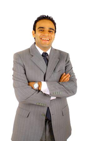 hombre arabe: Empresario joven sonriente, aislado en blanco Foto de archivo