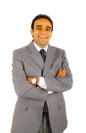 Young businessman smiling,  isolated on white photo