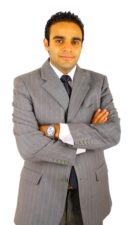 Smiling young businessman isolated on white photo