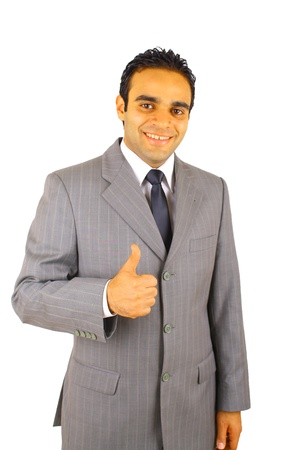 Portrait of young business man with  thumbs up - isolated on white