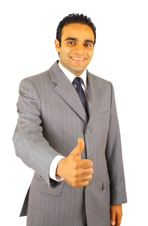 middle eastern clothing: Portrait of young business man with  thumbs up - isolated on white