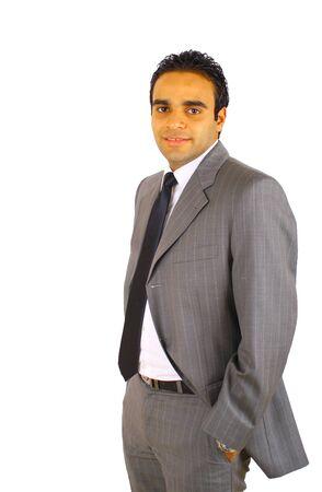 hombre arabe: Empresario joven sonriente aislado en blanco Foto de archivo