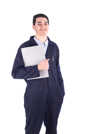 Young worker smiling - isolated on white Stock Photo