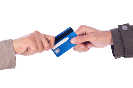 Cropped shot of a two hands holding a credit card, isolated on white background