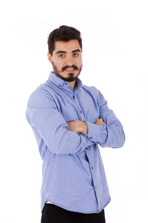 Handsome happy beard young man smiling and standing confidently, guy wearing blue shirt, isolated on white background