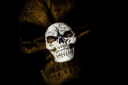 A skull is isolated on a black background with a larger skull ghost image behind it - orange colortone 版權商用圖片