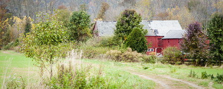 An old red barn with autumn trees surrounding it; panaramic view photo