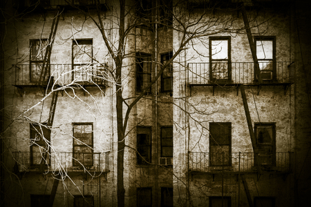 apartment: An apartment building looks like something out of a horror movie, with vintage colortone and vignette