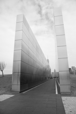 The Empty Sky New Jersey September 11th Memorial in Liberty Park, Jersey City, New Jersey; monochromatic colortone
