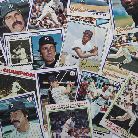 A group of old, 1970s era baseball cards of the New York Yankees