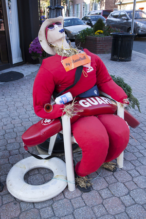 Scarecrows from the 6th annual Scarecrow Stroll   This scarecrow is dressed as a lifeguard and named Hasselhoff, as in David Hasselhoff of Baywatch fame  Photo taken October 26, 2013 in Cranford, New Jersey