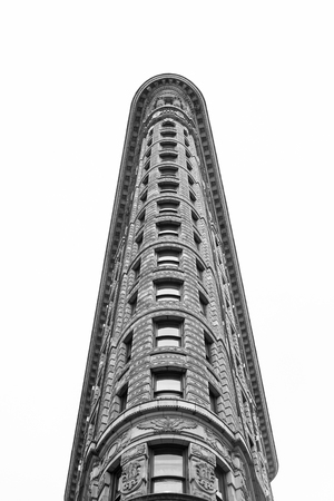 A unique perspective of the famous Flatiron Building in New York City.  Architectural details stand out in a black and white colortone.  **Editorial Use Only** 新闻类图片