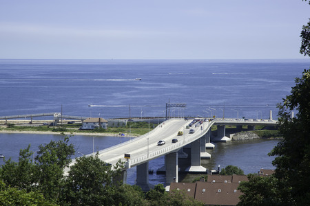barrier island: A view from the Twin Lights of the Sandy Hook Bridge connecting the Highlands to the barrier island area of Sandy Hook and Sea Bright, New Jersey; Photo taken in August, 2013